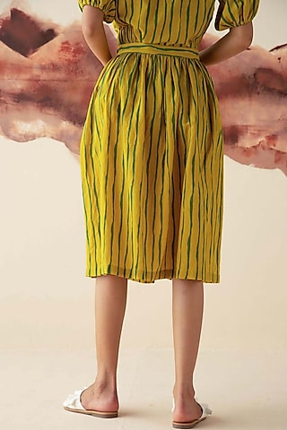 Olive Green Printed Skirt by Kanelle