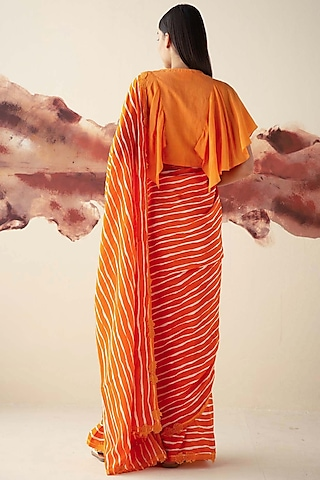 Orange Printed Saree by Kanelle
