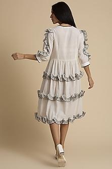 Salt Frilled & Self Checkered Dress by Kanelle