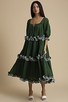Seaweed Dress With Frills by Kanelle