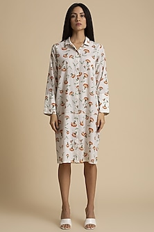 White Printed Shirt Dress by Kanelle