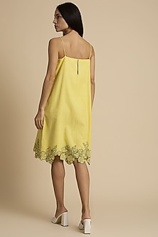 Corn Slip Dress With Cut Work by Kanelle