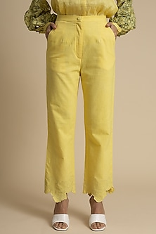 Yellow Cotton Embroidered Trousers by Kanelle