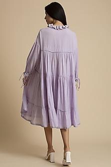 Mauve Gathered Cotton Dress by Kanelle