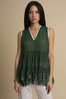 Olive Green Cut Work Top by Kanelle
