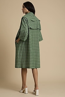 Green Oversized Checkered Coat by Kanelle