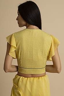 Yellow Stitch Detailing Blouse by Kanelle