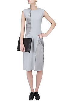 Light Grey Pleat Stream Dress by Kanelle