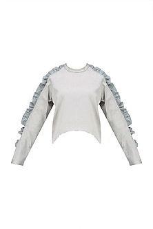 Pale Grey Frill Detail Top by Kanelle