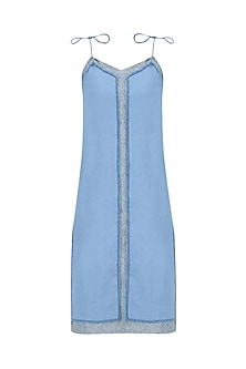 Light Blue Texture Tie Up Slip Dress by Kanelle