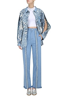 Light Blue Texture Deatil Trouser Pants by Kanelle