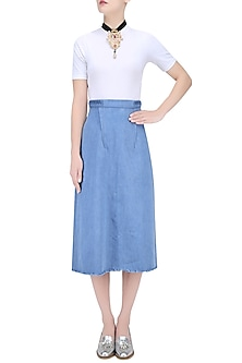 Light Blue Pleated Belt Skirt by Kanelle