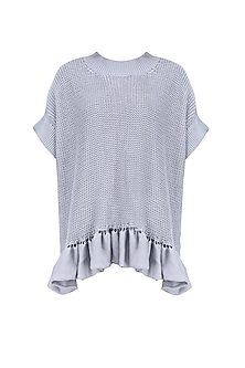 Grey Frill Detail Knit Sweater by Kanelle