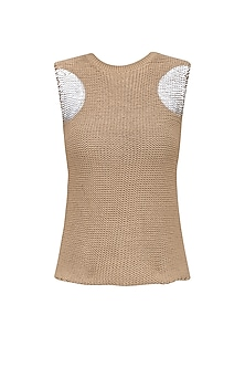 Beige Foil Detail Knit Tee by Kanelle