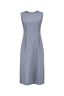 Grey Side Textured Mesh Detail Dress by Kanelle