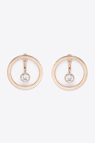 Rose Gold Finish Hoop Earrings by EMBLAZE JEWELLERY