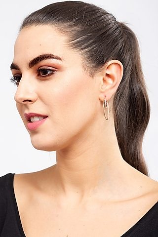 Rose Gold Finish Layered Hoop Earrings by EMBLAZE JEWELLERY