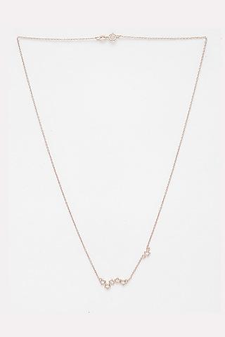 Rose Gold Finish CZ Stone Necklace by EMBLAZE JEWELLERY