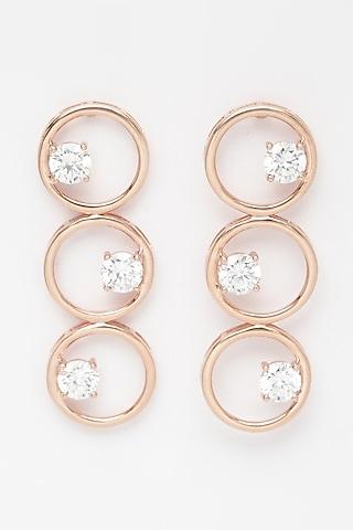 Rose Gold Finish Circular Long Earrings by EMBLAZE JEWELLERY