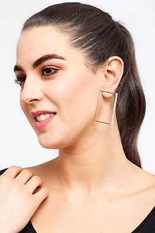 Rose Gold Finish Square Dangler Earrings by EMBLAZE JEWELLERY