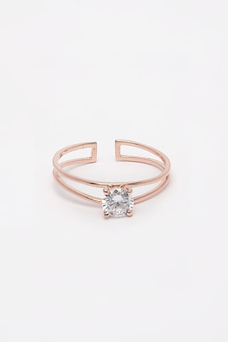 Rose Gold Finish Adjustable Ring by EMBLAZE JEWELLERY