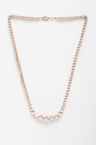 Rose Gold Finish Tennis Necklace by EMBLAZE JEWELLERY