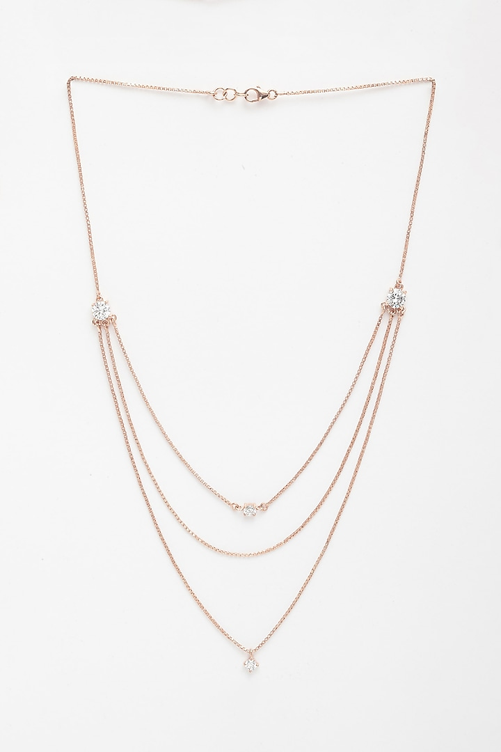 Rose Gold Finish Layered Necklace by EMBLAZE JEWELLERY