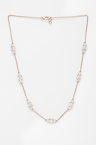 Rose Gold Finish Cluster Necklace by EMBLAZE JEWELLERY