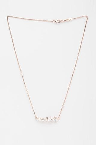 Rose Gold Finish CZ Line Necklace by EMBLAZE JEWELLERY