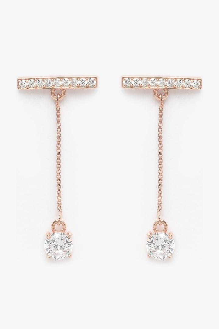 Rose Gold Finish CZ Stone Dangler Earrings by EMBLAZE JEWELLERY