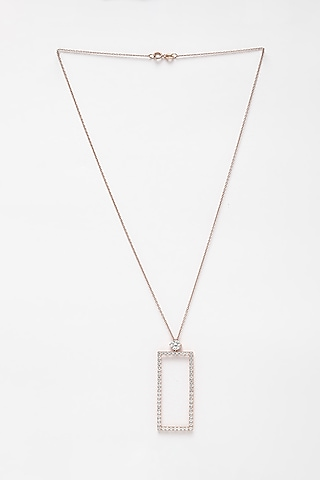 Rose Gold Finish CZ Pendant Necklace In Sterling Silver by EMBLAZE JEWELLERY