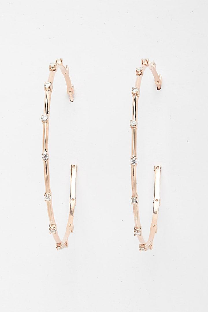 Rose Gold Finish Hoop Earrings In Sterling Silver by EMBLAZE JEWELLERY