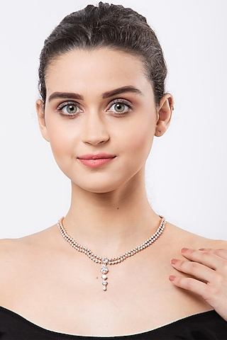 Rose Gold Finish Two Layered Necklace In Sterling Silver by EMBLAZE JEWELLERY