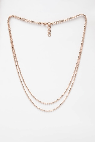 Rose Gold Finish Ball Chain Necklace In Sterling Silver by EMBLAZE JEWELLERY
