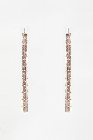 Rose Gold Finish Chain Earrings In Sterling Silver by EMBLAZE JEWELLERY
