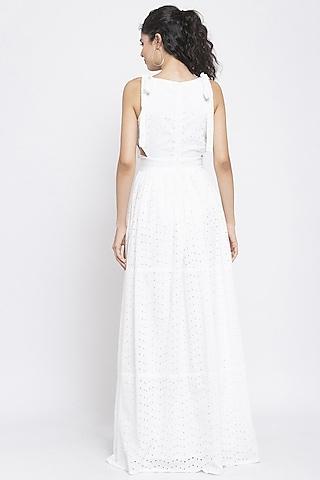 White Shoulder Tie-Up Dress by Emblaze