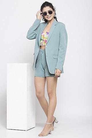Turquoise Blue Short Blazer Set by Emblaze