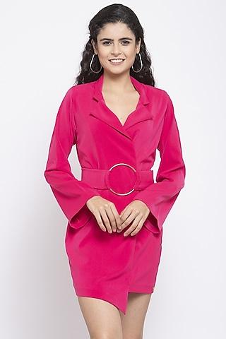 Pink Viscose Short Dress by Emblaze