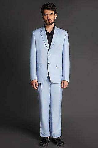 Sky Blue Viscose Blazer Set by Emblaze