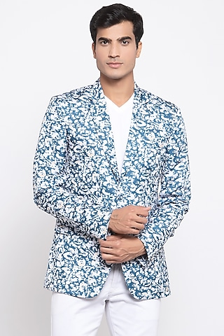 Blue & White Printed Blazer by Emblaze