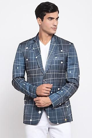 Navy Blue Printed Blazer by Emblaze