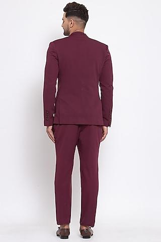 Maroon Viscose Blazer Set by Emblaze