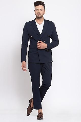 Navy Blue Viscose Blazer Set by Emblaze