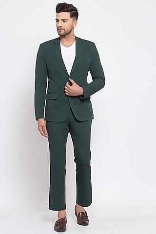 Green Viscose Blazer Set by Emblaze