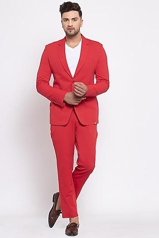 Red Viscose Blazer Set by Emblaze