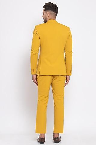 Mustard Viscose Blazer Set by Emblaze