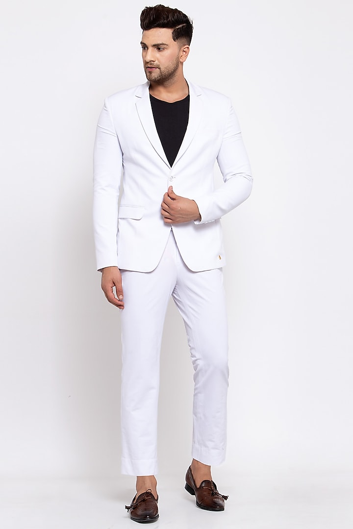 White Viscose Blazer Set by Emblaze Men