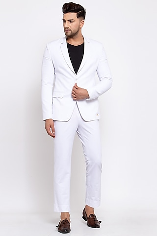 White Viscose Blazer Set by Emblaze