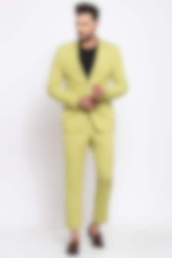 Lime Green Viscose Blazer Set by Emblaze Men