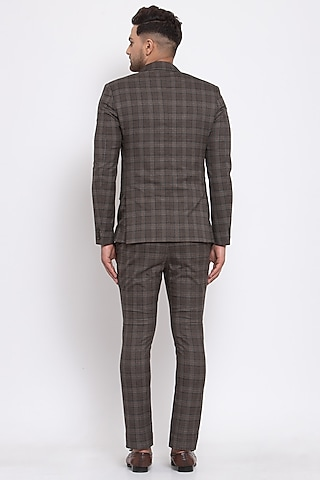 Brown Checkered Blazer Set by Emblaze